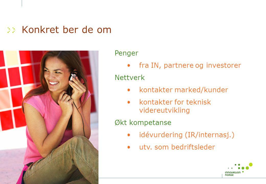 Konkret ber de om Penger fra IN, partnere og investorer Nettverk