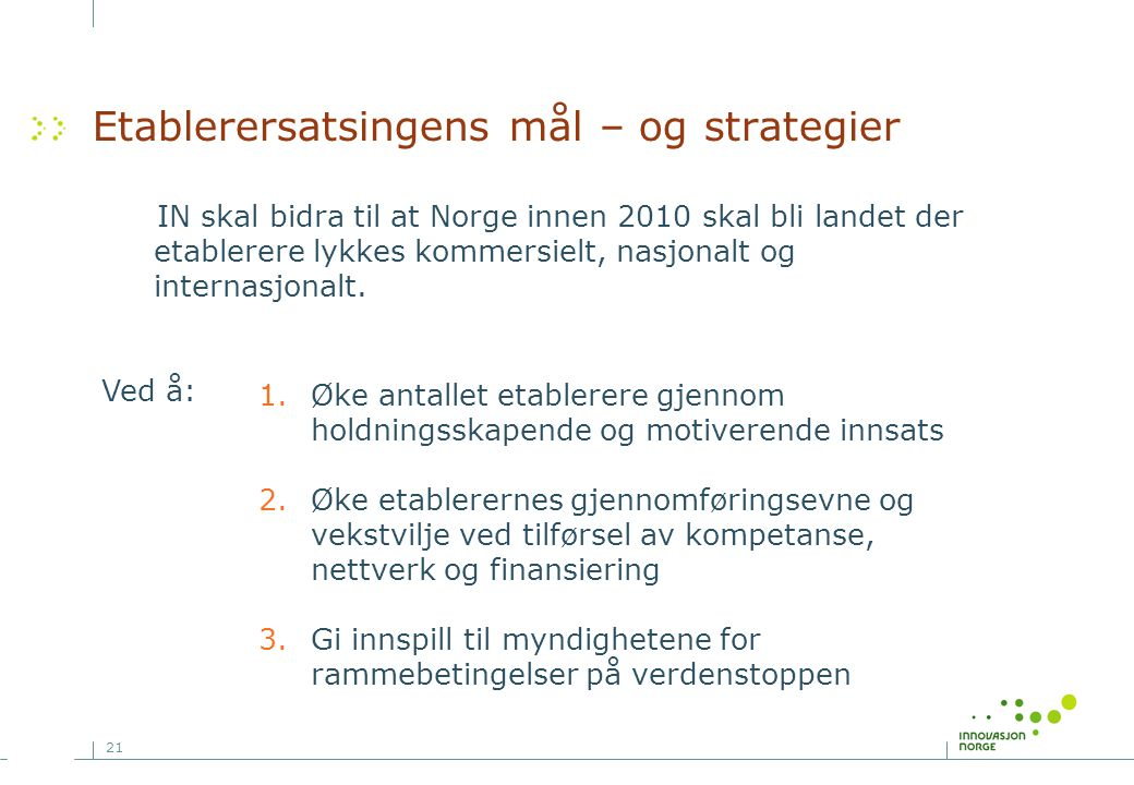 Etablerersatsingens mål – og strategier