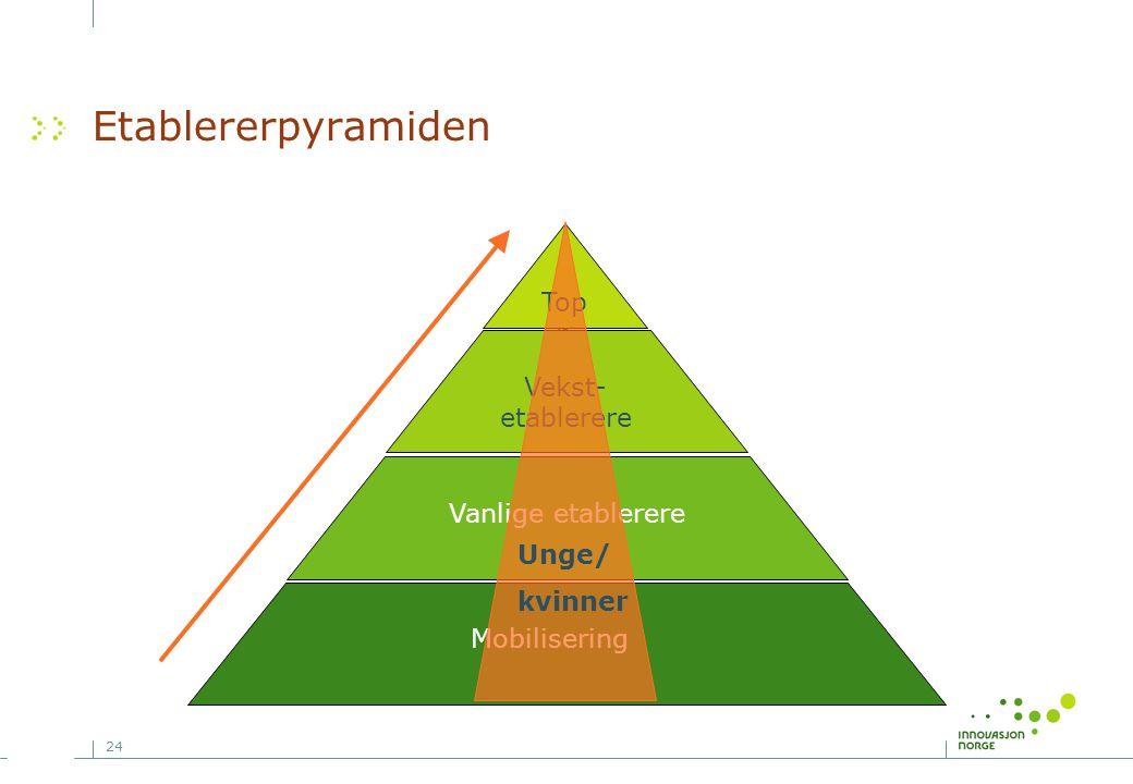 Etablererpyramiden Topp Vekst-etablerere Vanlige etablerere Unge/