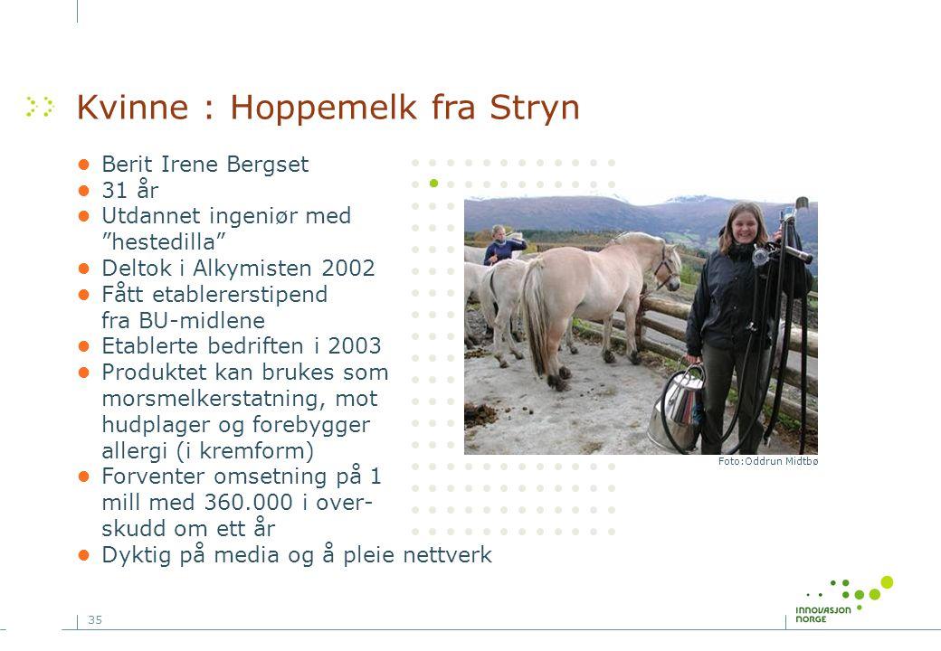 Kvinne : Hoppemelk fra Stryn