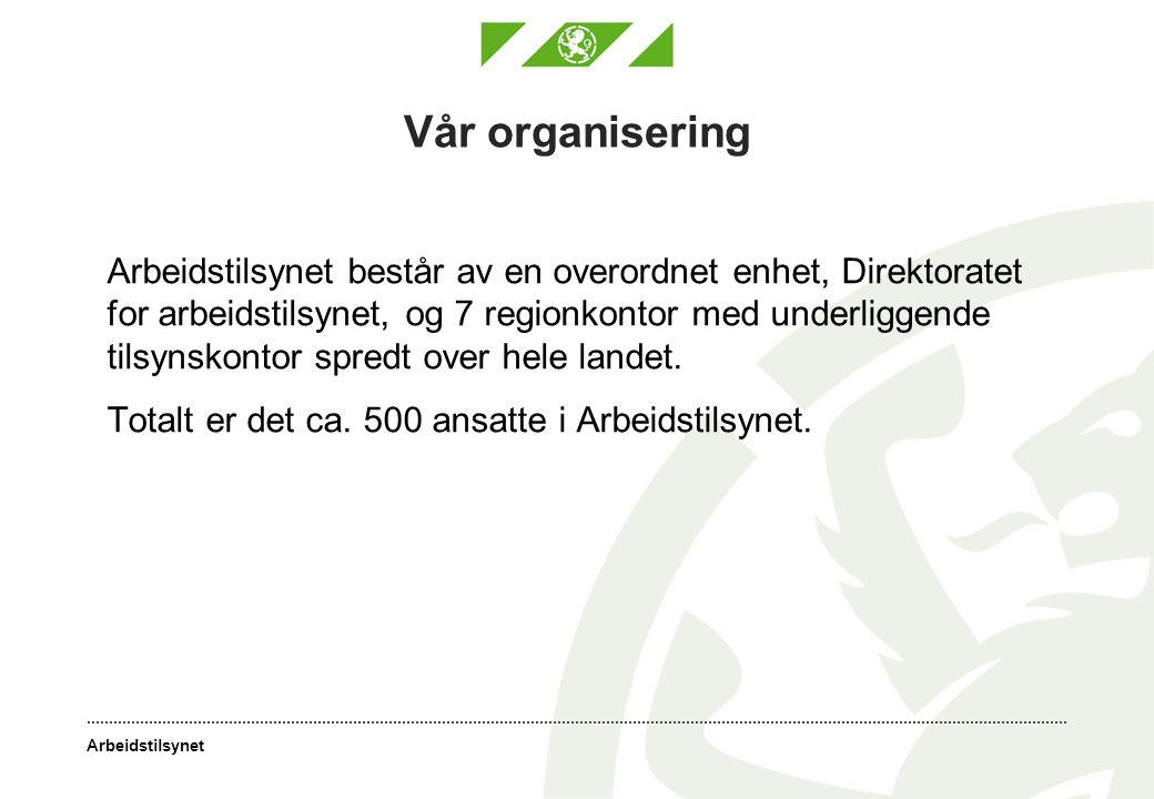 Vår organisering Totalt er det ca. 500 ansatte i Arbeidstilsynet.