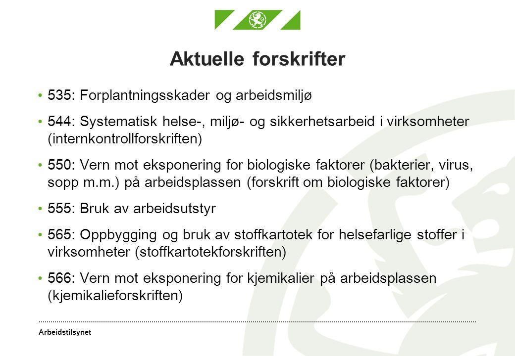 Aktuelle forskrifter 535: Forplantningsskader og arbeidsmiljø