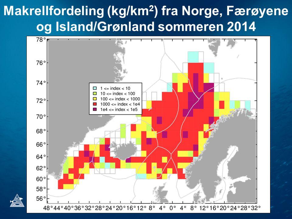 Makrellfordeling (kg/km2) fra Norge, Færøyene og Island/Grønland sommeren 2014