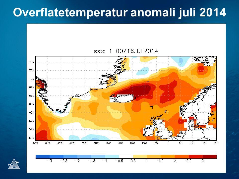 Overflatetemperatur anomali juli 2014