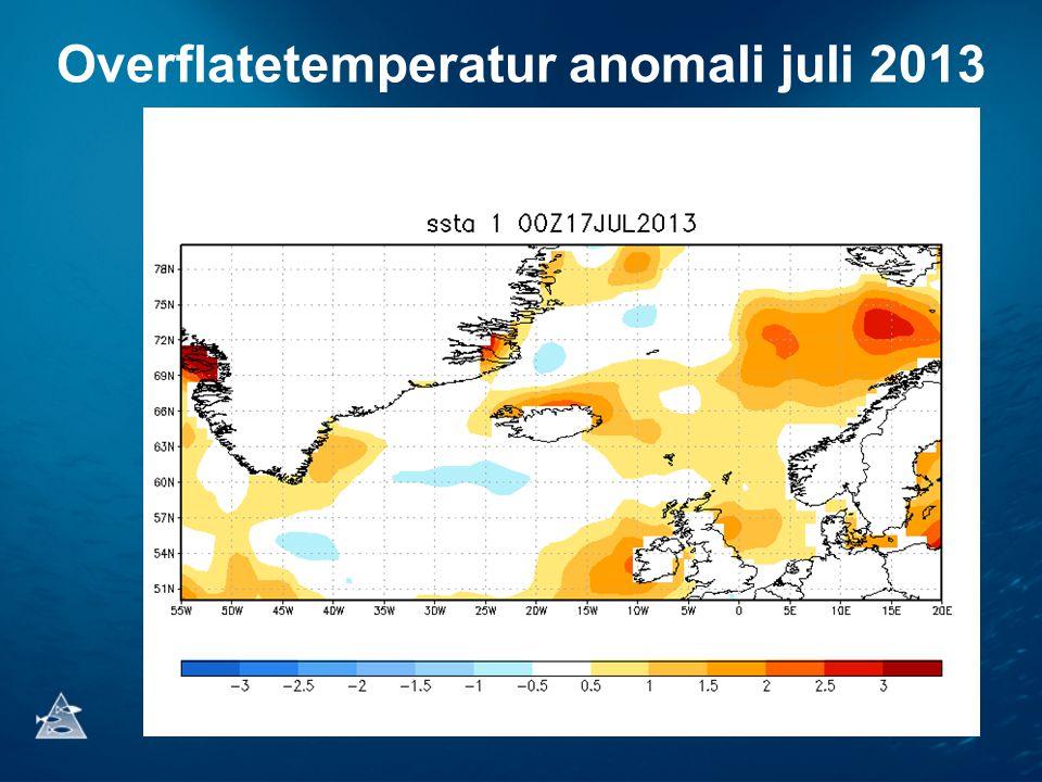 Overflatetemperatur anomali juli 2013