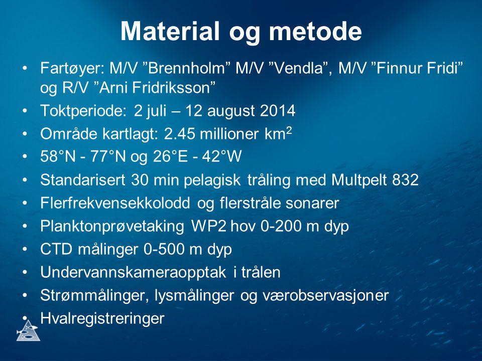 Material og metode Fartøyer: M/V Brennholm M/V Vendla , M/V Finnur Fridi og R/V Arni Fridriksson