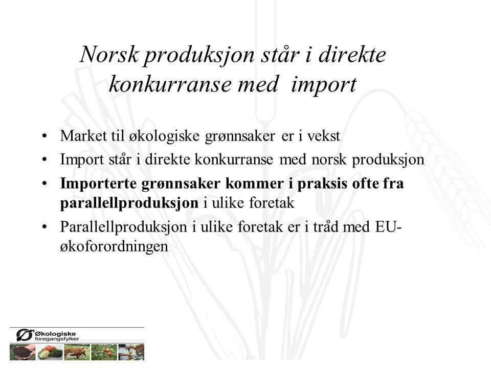 Norsk produksjon står i direkte konkurranse med import