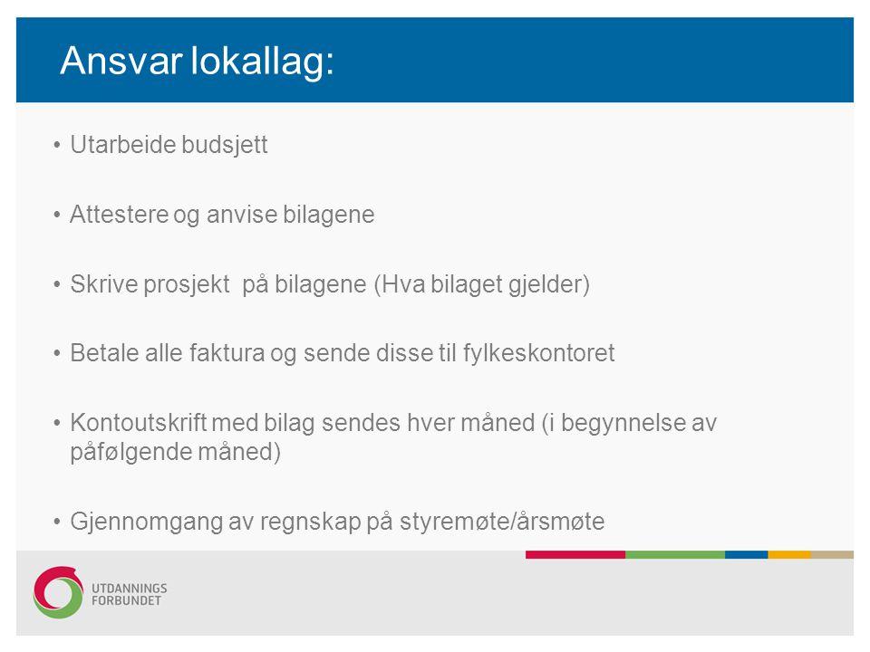 Ansvar lokallag: Utarbeide budsjett Attestere og anvise bilagene