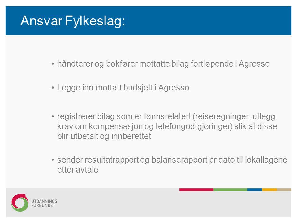 Ansvar Fylkeslag: håndterer og bokfører mottatte bilag fortløpende i Agresso. Legge inn mottatt budsjett i Agresso.