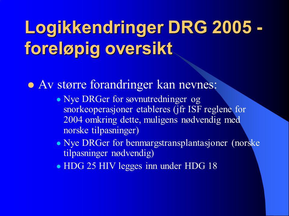 Logikkendringer DRG 2005 - foreløpig oversikt