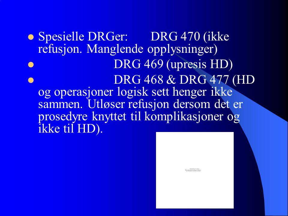 Spesielle DRGer: DRG 470 (ikke refusjon. Manglende opplysninger)