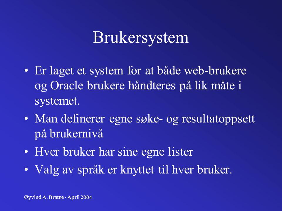 Brukersystem Er laget et system for at både web-brukere og Oracle brukere håndteres på lik måte i systemet.
