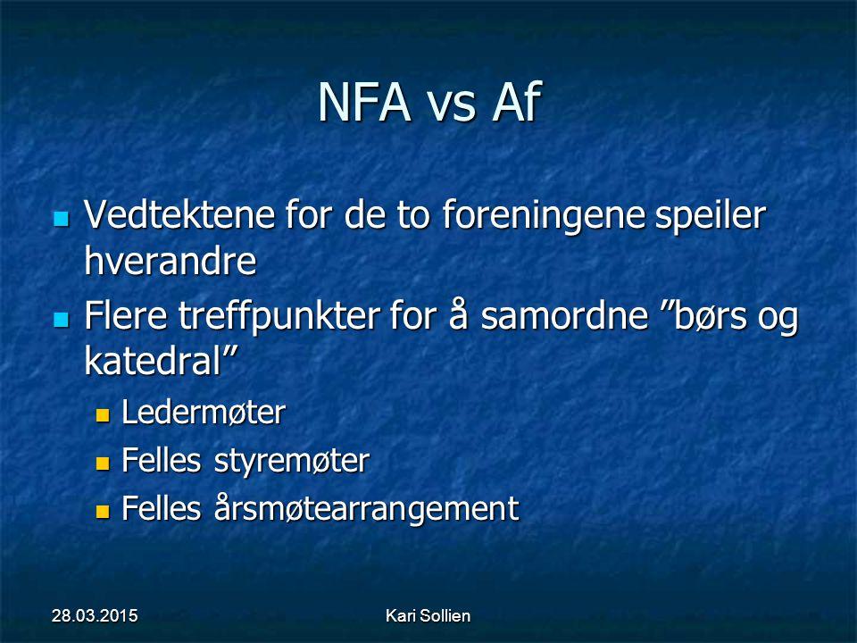 NFA vs Af Vedtektene for de to foreningene speiler hverandre