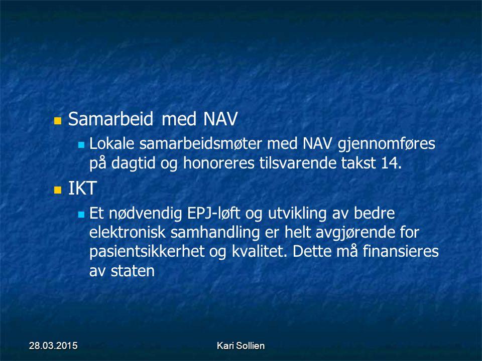 Samarbeid med NAV Lokale samarbeidsmøter med NAV gjennomføres på dagtid og honoreres tilsvarende takst 14.