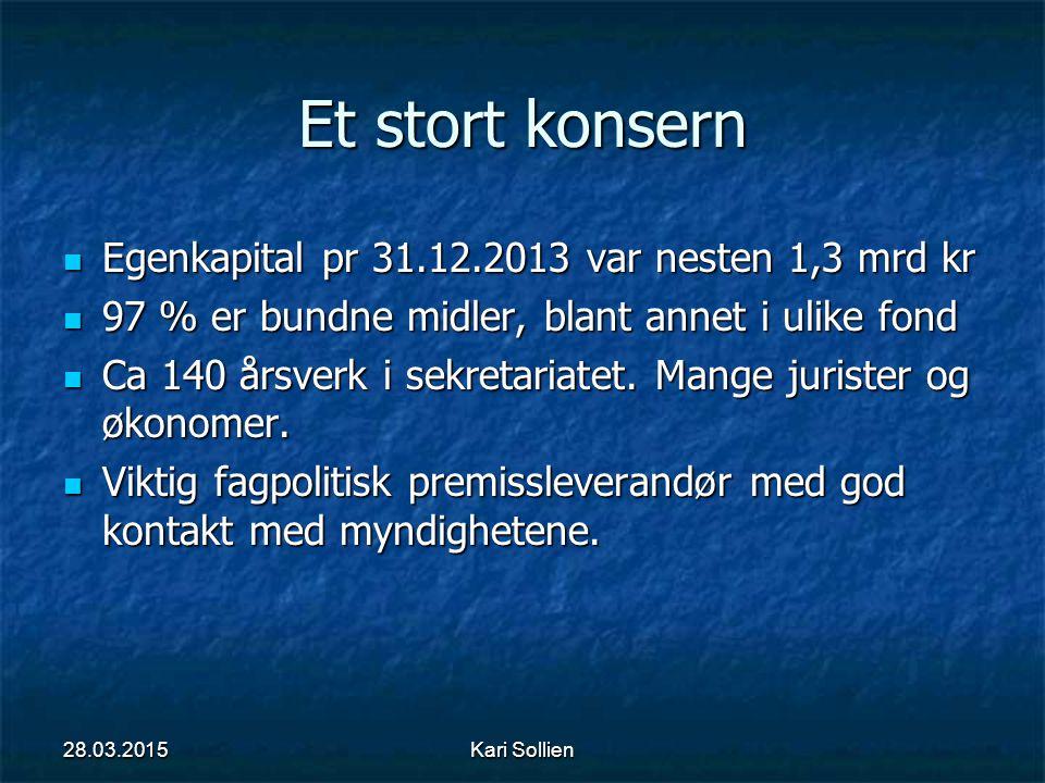 Et stort konsern Egenkapital pr 31.12.2013 var nesten 1,3 mrd kr