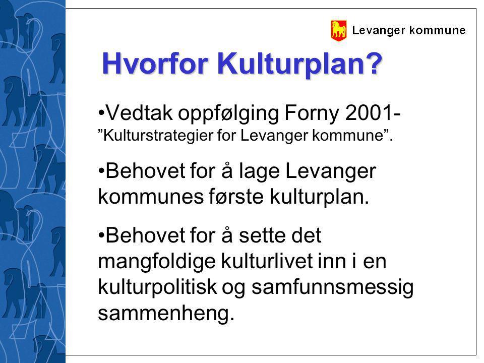 Hvorfor Kulturplan Vedtak oppfølging Forny 2001- Kulturstrategier for Levanger kommune . Behovet for å lage Levanger kommunes første kulturplan.