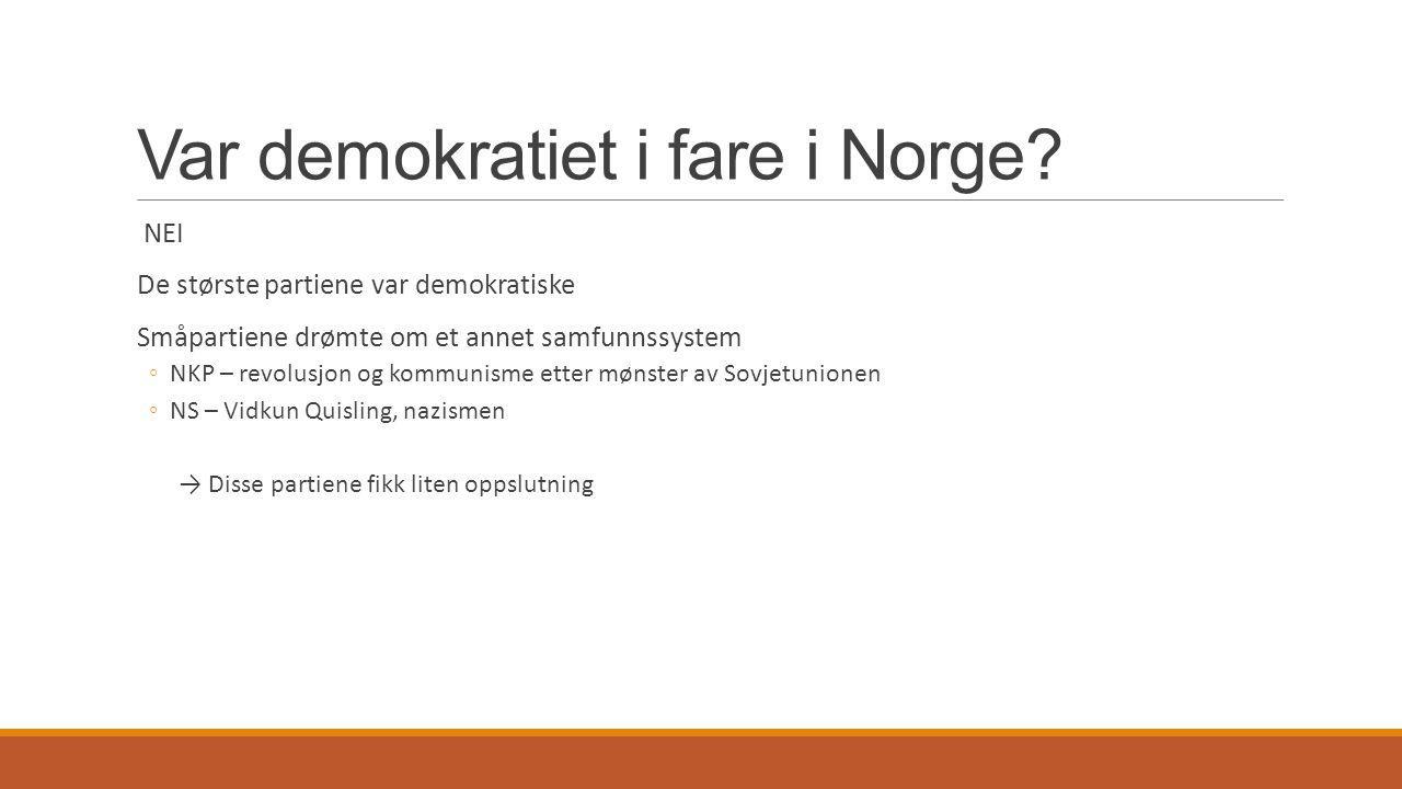 Var demokratiet i fare i Norge
