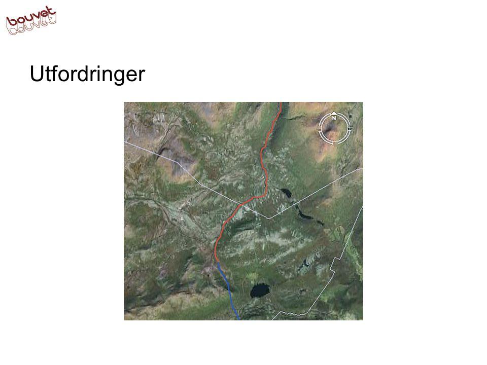 Utfordringer Ved overgang fra et område til et annet må vi interpolere