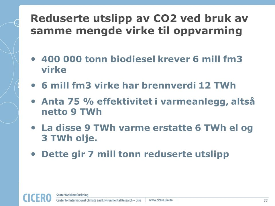 Reduserte utslipp av CO2 ved bruk av samme mengde virke til oppvarming