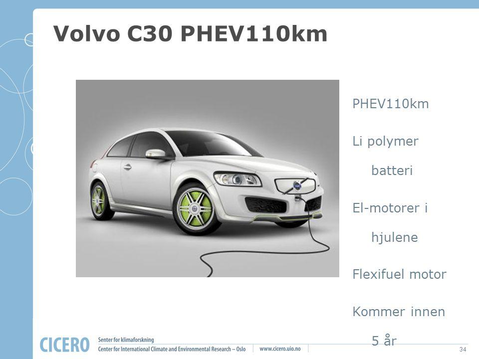 Volvo C30 PHEV110km PHEV110km Li polymer batteri El-motorer i hjulene