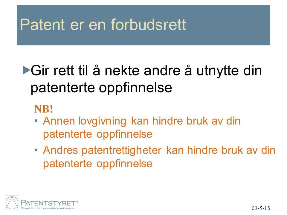 Patent er en forbudsrett
