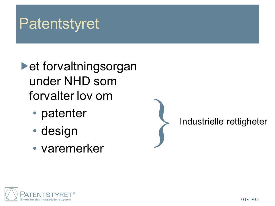 } Patentstyret et forvaltningsorgan under NHD som forvalter lov om