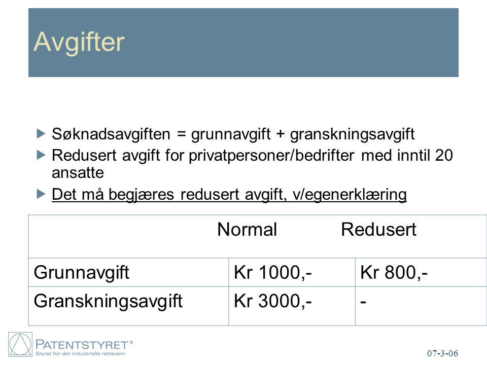 Avgifter Normal Redusert Grunnavgift Kr 1000,- Kr 800,-