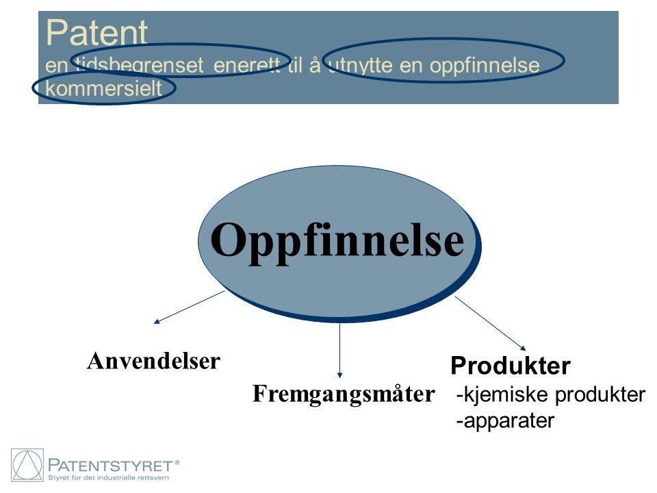 Patent en tidsbegrenset enerett til å utnytte en oppfinnelse kommersielt