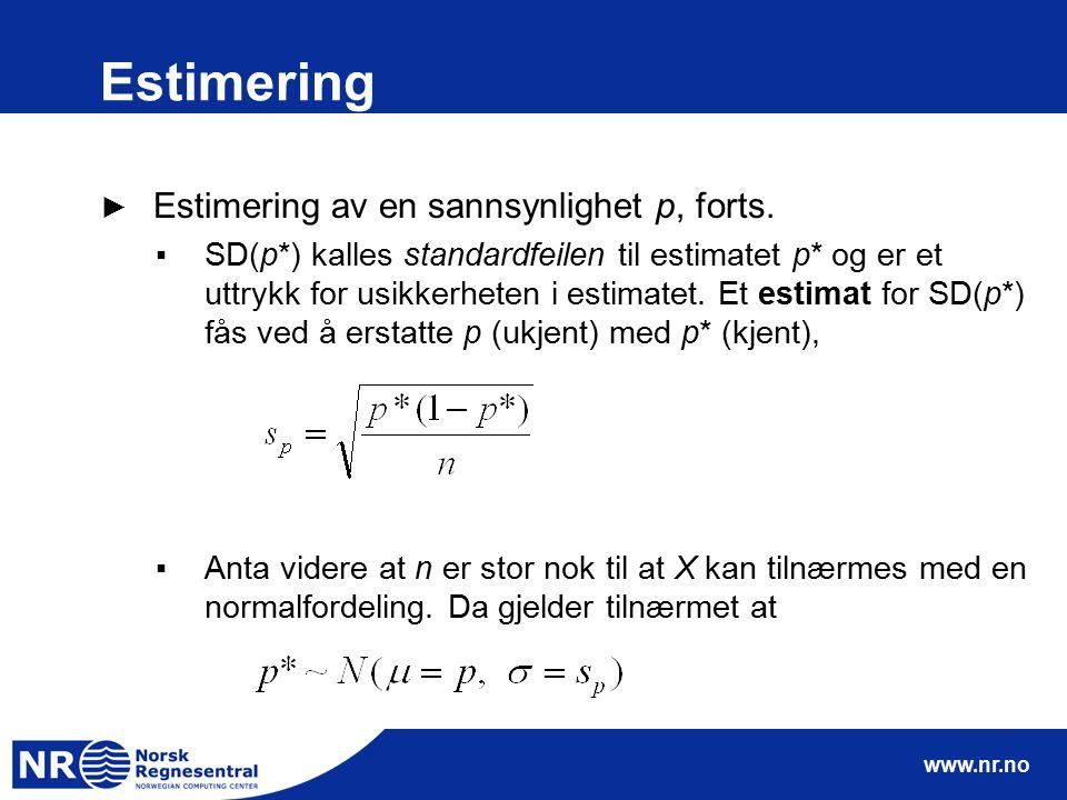 Estimering Estimering av en sannsynlighet p, forts.