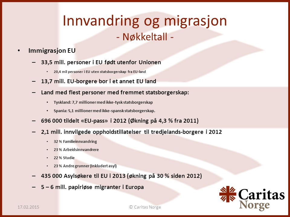 Innvandring og migrasjon - Nøkkeltall -