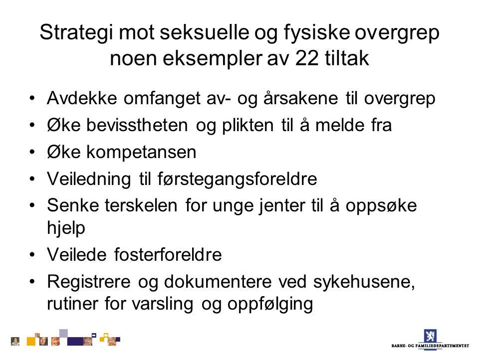 Strategi mot seksuelle og fysiske overgrep noen eksempler av 22 tiltak