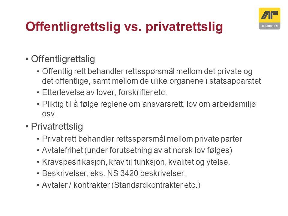 Offentligrettslig vs. privatrettslig