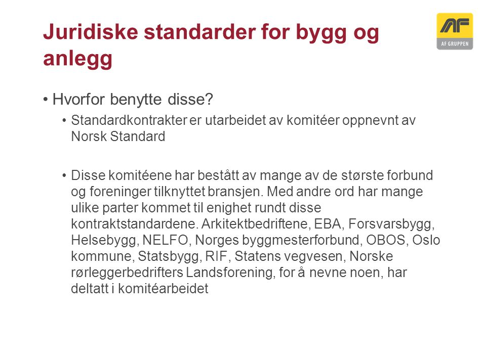 Juridiske standarder for bygg og anlegg