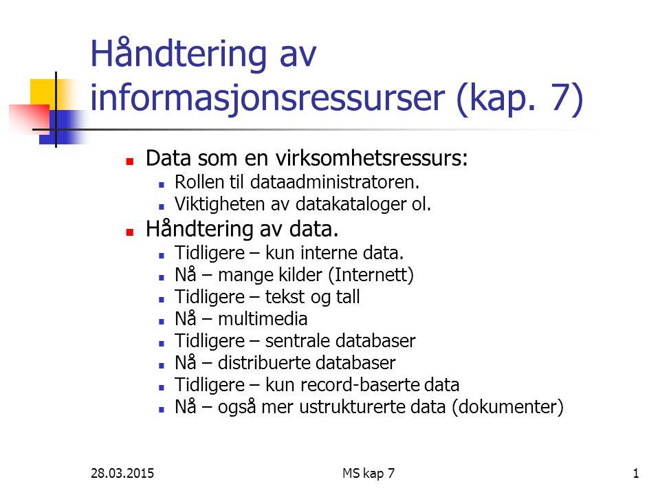 Håndtering av informasjonsressurser (kap. 7)