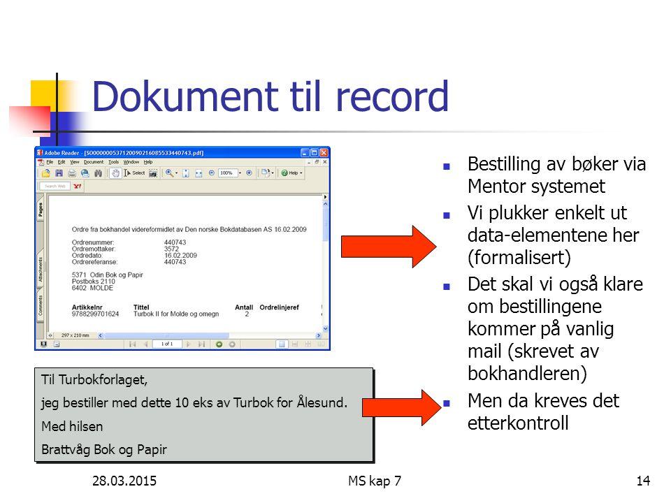 Dokument til record Bestilling av bøker via Mentor systemet