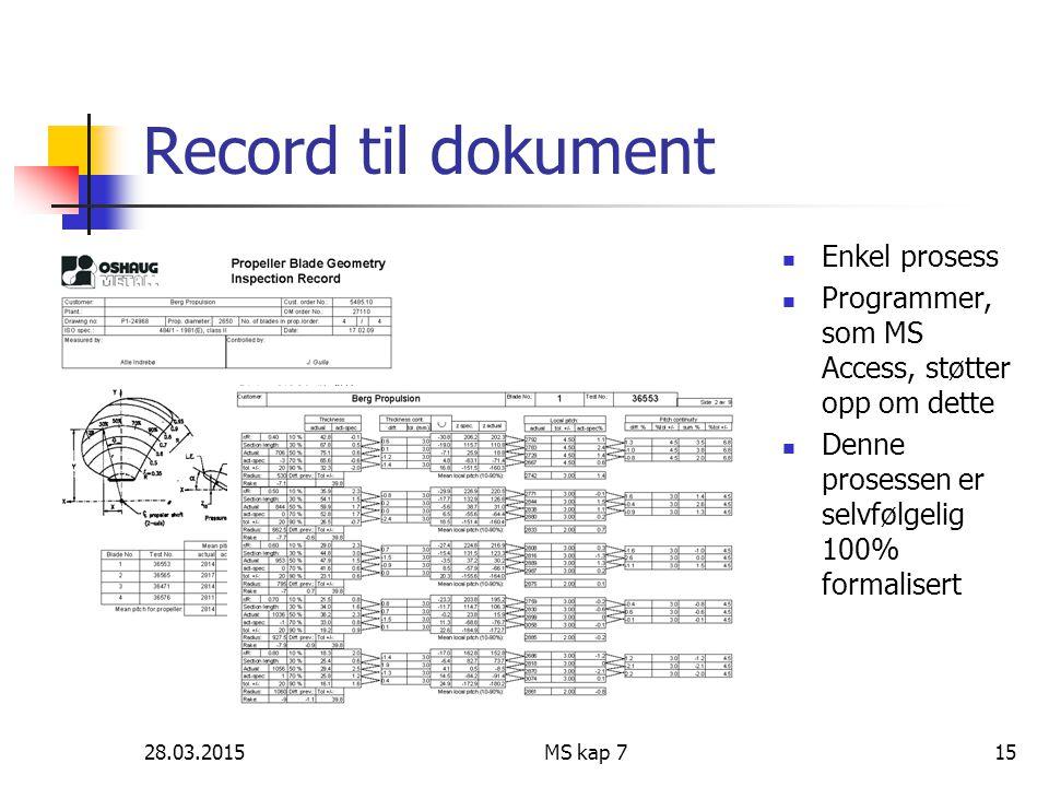 Record til dokument Enkel prosess