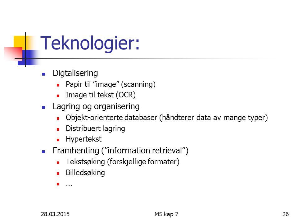 Teknologier: Digtalisering Lagring og organisering