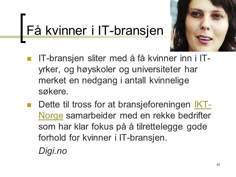 Få kvinner i IT-bransjen