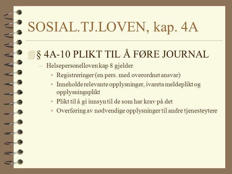 SOSIAL.TJ.LOVEN, kap. 4A § 4A-10 PLIKT TIL Å FØRE JOURNAL