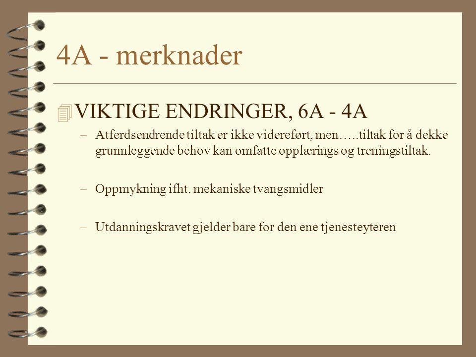 4A - merknader VIKTIGE ENDRINGER, 6A - 4A