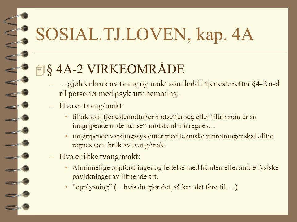 SOSIAL.TJ.LOVEN, kap. 4A § 4A-2 VIRKEOMRÅDE