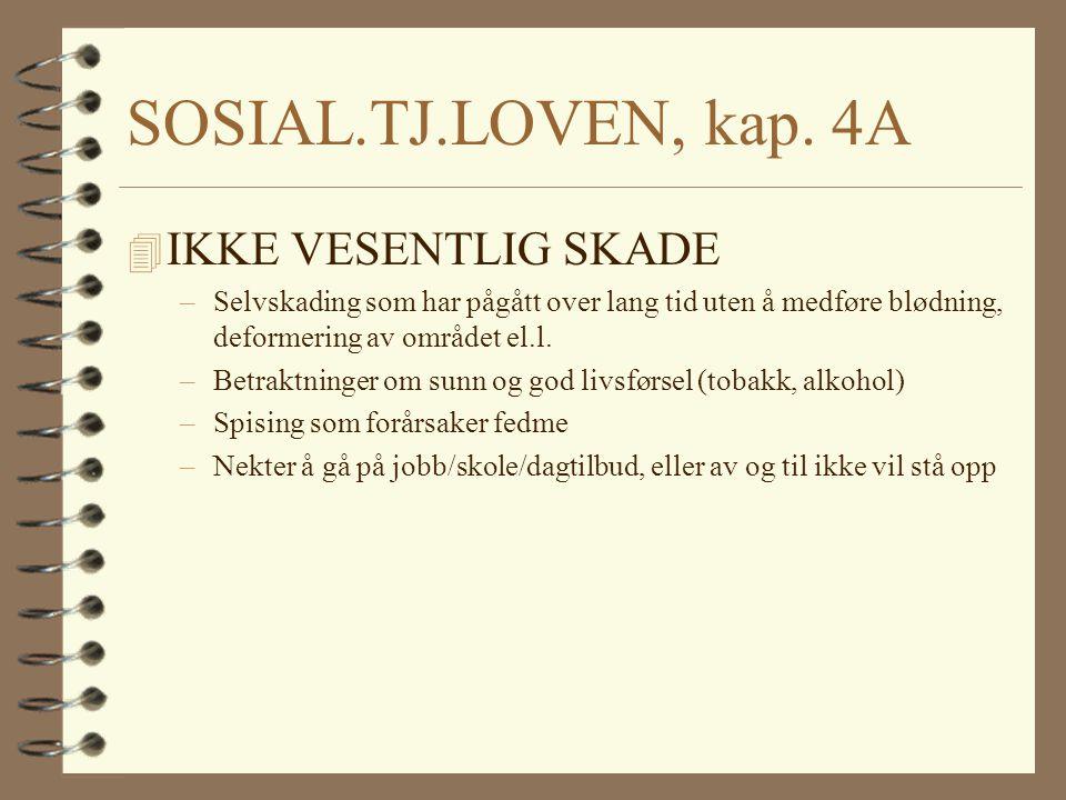 SOSIAL.TJ.LOVEN, kap. 4A IKKE VESENTLIG SKADE