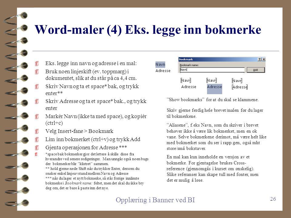Word-maler (4) Eks. legge inn bokmerke