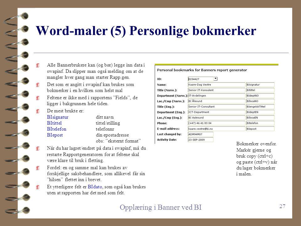 Word-maler (5) Personlige bokmerker