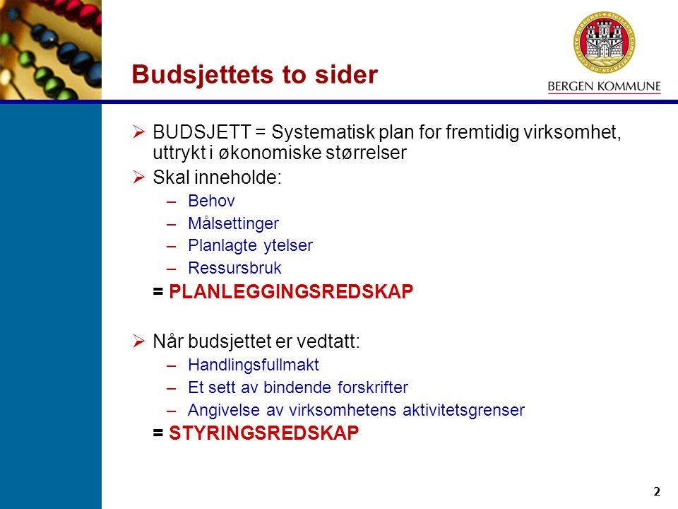 Budsjettets to sider BUDSJETT = Systematisk plan for fremtidig virksomhet, uttrykt i økonomiske størrelser.