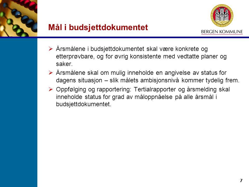 Mål i budsjettdokumentet