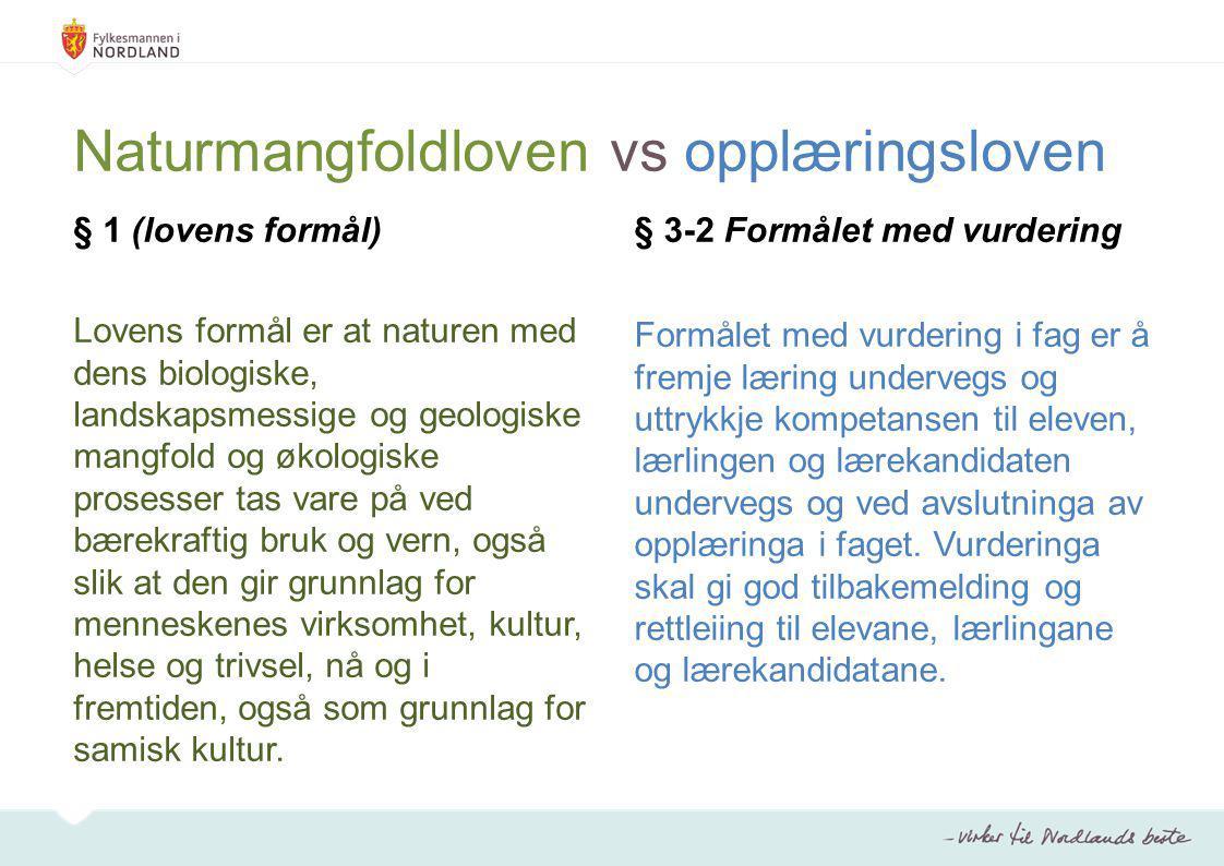 Naturmangfoldloven vs opplæringsloven