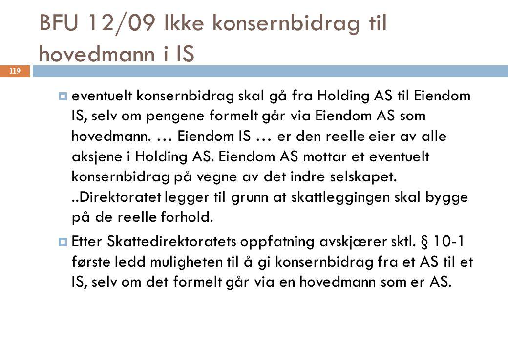 BFU 12/09 Ikke konsernbidrag til hovedmann i IS