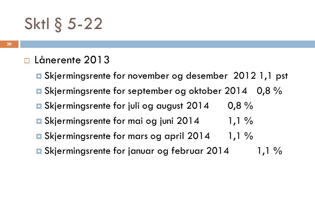 Sktl § 5-22 Lånerente 2013. Skjermingsrente for november og desember 2012 1,1 pst. Skjermingsrente for september og oktober 2014 0,8 %