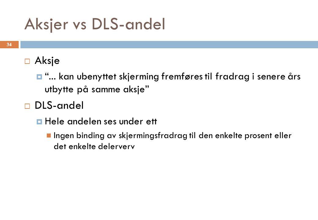 Aksjer vs DLS-andel Aksje DLS-andel